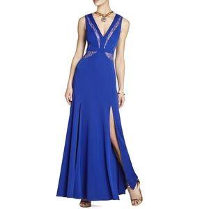 NWT BCBG MaxAzria Royal Blue Lace Cut Gown (Prom)
